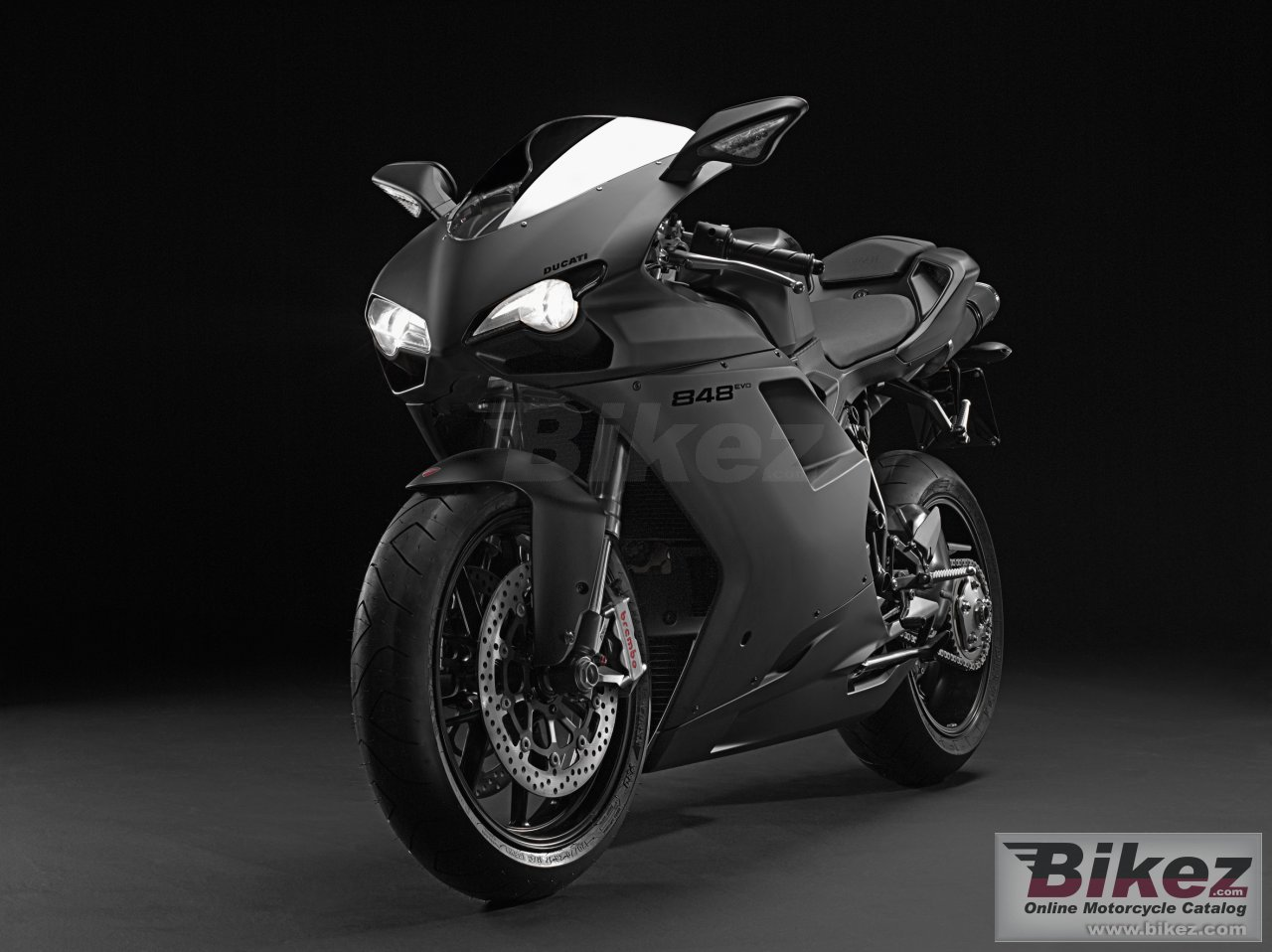 Big Ducati 848 evo dark picture and wallpaper from Bikez.com